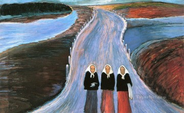 women Painting - women on road Marianne von Werefkin Expressionism