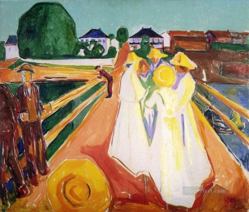 Expressionism Painting - women on the bridge Edvard Munch Expressionism