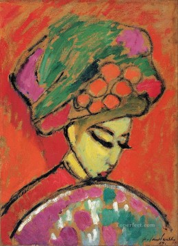 Artworks in 150 Subjects Painting - young girl with a flowered hat 1910 Alexej von Jawlensky Expressionism