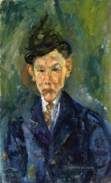 small Art - young man wearing a small hat Chaim Soutine Expressionism