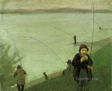 Famous Abstract Painting - Fishing At The Rhine Expressionist