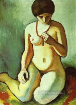 Nude with Coral Necklace Aktmit Korallen kette Expressionist Oil Paintings