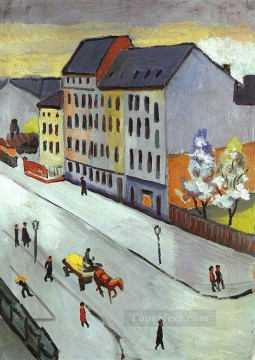 Our Street in Gray Unsere Strassein Grau Expressionist Oil Paintings