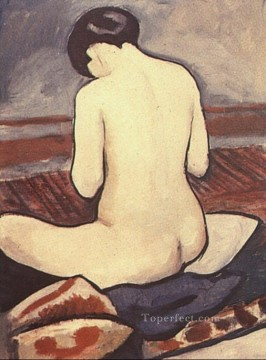 Abstract and Decorative Painting - Sitting Nude with Cushions Sitzender Aktmit Kissen Expressionist