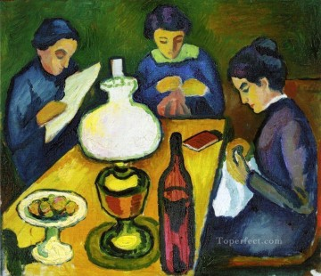 Abstract and Decorative Painting - Three Women at the Table by the Lamp Expressionist