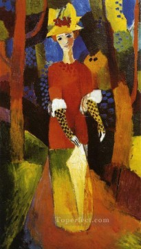 Famous Abstract Painting - Woman in Park Expressionist