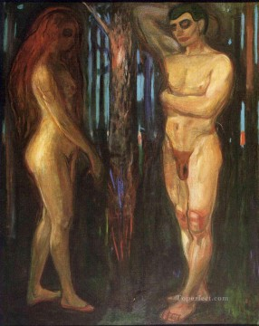 Expressionism Painting - adam and eve 1918 Edvard Munch Expressionism