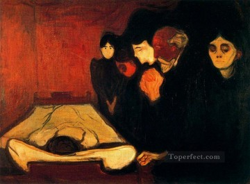 Artworks in 150 Subjects Painting - by the deathbed fever 1893 Edvard Munch Expressionism