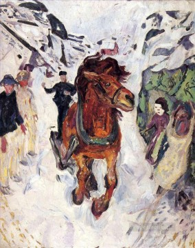 horse racing Painting - galloping horse 1912 Edvard Munch Expressionism
