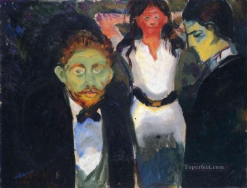 Expressionism Painting - jealousy from the series the green room 1907 Edvard Munch Expressionism