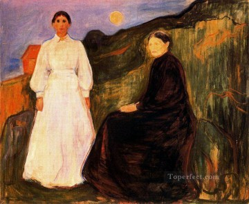 Expressionism Painting - mother and daughter 1897 Edvard Munch Expressionism