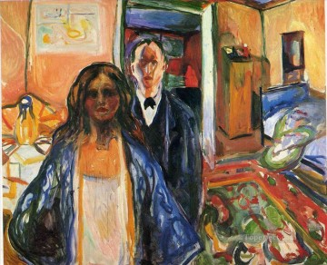Expressionism Painting - the artist and his model 1921 Edvard Munch Expressionism