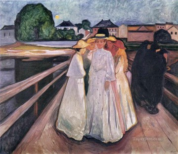 Expressionism Painting - the ladies on the bridge 1903 Edvard Munch Expressionism
