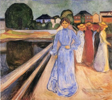 Artworks in 150 Subjects Painting - women on the bridge 1902 Edvard Munch Expressionism