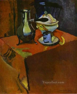 Crockery on a Table Fauvism Oil Paintings