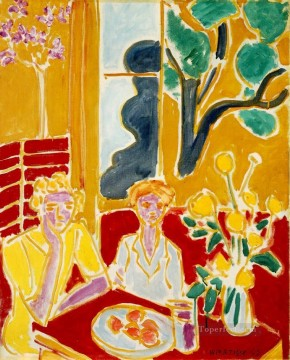 Deux fillettes fond jaune et rouge Two Girls in a Yellow and Red Interior 1947 Fauvism Oil Paintings