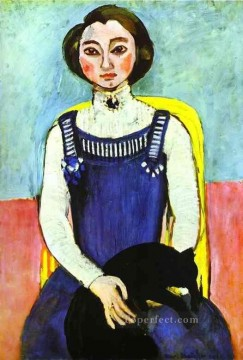 cat cats Painting - Girl with A Black Cat Fauvism