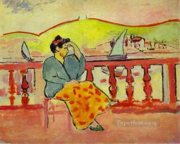 Lady on the Terrace Fauvism Oil Paintings