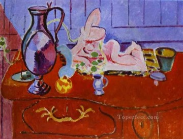 Pink Statuette and Pitcher on a Red Chest of Drawers Fauvism Oil Paintings
