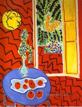 Red Interior Still Life on a Blue Table Fauvism Oil Paintings