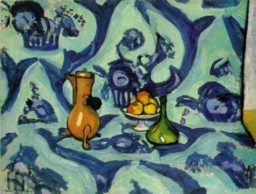 Still Life with Blue Tablecloth Fauvism Oil Paintings