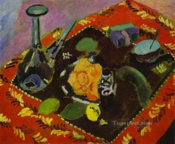 Dishes and Fruit on a Red and Black Carpet 1906 Fauvist Oil Paintings