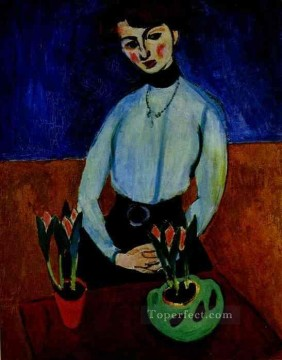jeanne Art - Girl with Tulips Portrait of Jeanne Vaderin 1910 Fauvist