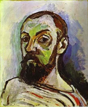 SelfPortrait in a Striped TShirt 1906 Fauvist Oil Paintings
