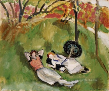 Two Figures Reclining in a Landscape 1921 Fauvist Oil Paintings