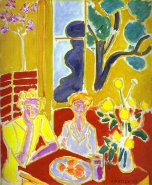 KG Art - Two Girls with Yellow and Red Background 1947 Fauvist