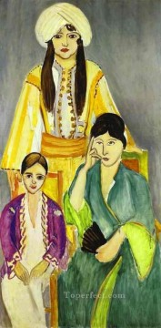 Three Sisters Triptych Left part Fauvist Oil Paintings