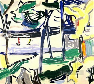 Pop Painting - sailboats through the trees 1984 POP