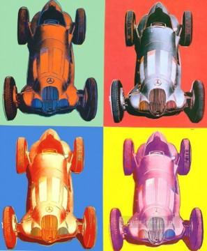 horce races racing Painting - Benz Racing Car POP Artists