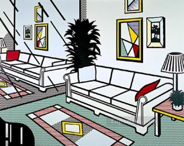 Artists Oil Painting - interior with mirrored wall 1991 POP Artists