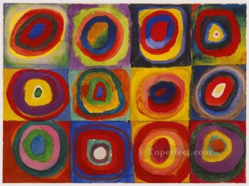 Squares with Concentric Circles Abstract Oil Paintings