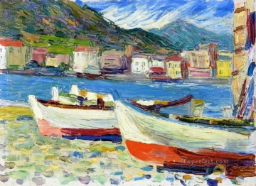 Rapallo boats Abstract Oil Paintings