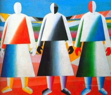 girls in the fields 1932 Kazimir Malevich abstract Oil Paintings