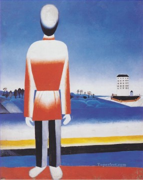 man suprematic in landscape 1930 Kazimir Malevich abstract Oil Paintings