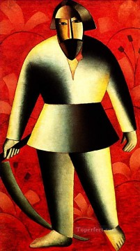Artworks in 150 Subjects Painting - the reaper on red 1913 Kazimir Malevich abstract