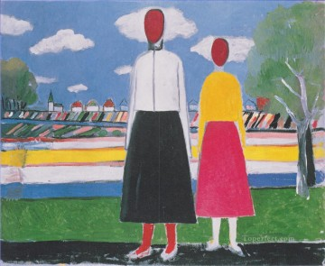 two figures in a landscape 1932 Kazimir Malevich abstract Oil Paintings