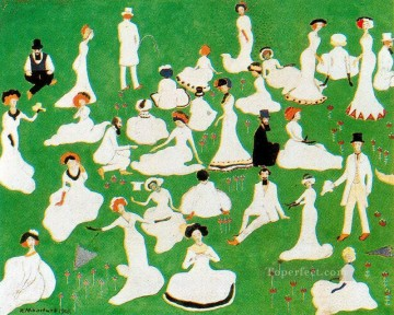 rest society in top hats 1908 Kazimir Malevich abstract Oil Paintings