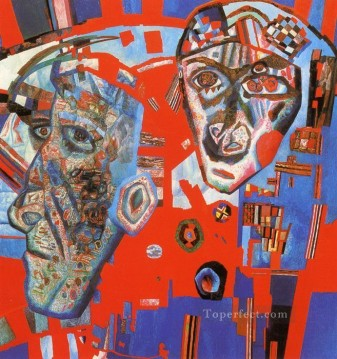 Purely Abstract Painting - two heads 1925 Pavel Filonov abstract