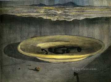 Surrealism Painting - Landscape with Telephones on a Plate Surrealist