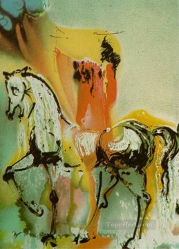 horses horse Painting - The Christian Knight s Horses Surrealist