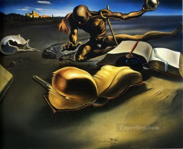 Surrealism Painting - Book Transforming Itself into a Nude Woman Surrealist