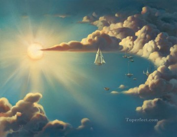 Surrealism Painting - Haven surrealism ships clouds