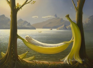 Surrealism Painting - golden anniversary surrealism banana swing