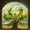 miracle of birth surrealism plants leaves