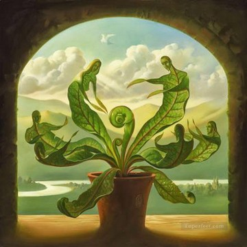 miracle of birth surrealism plants leaves Oil Paintings