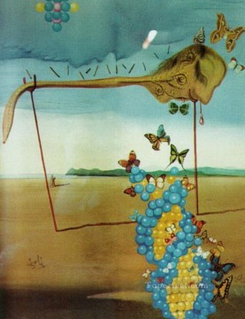 butterfly Painting - Butterfly Landscape The Great Masturbator in a Surrealist Landscape with D N A Surrealism
